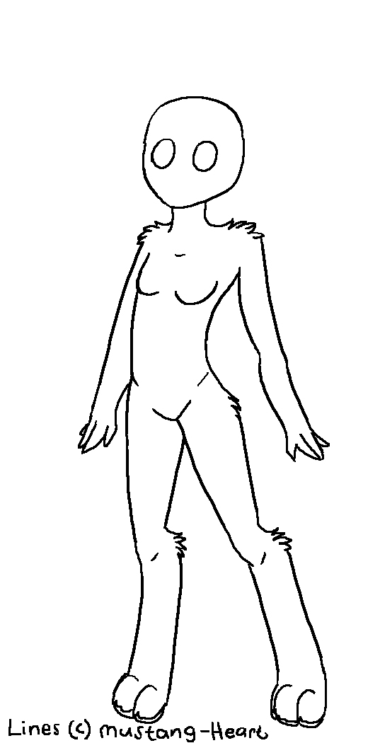 Female Cat Anthro Female Anthro Lineart by
