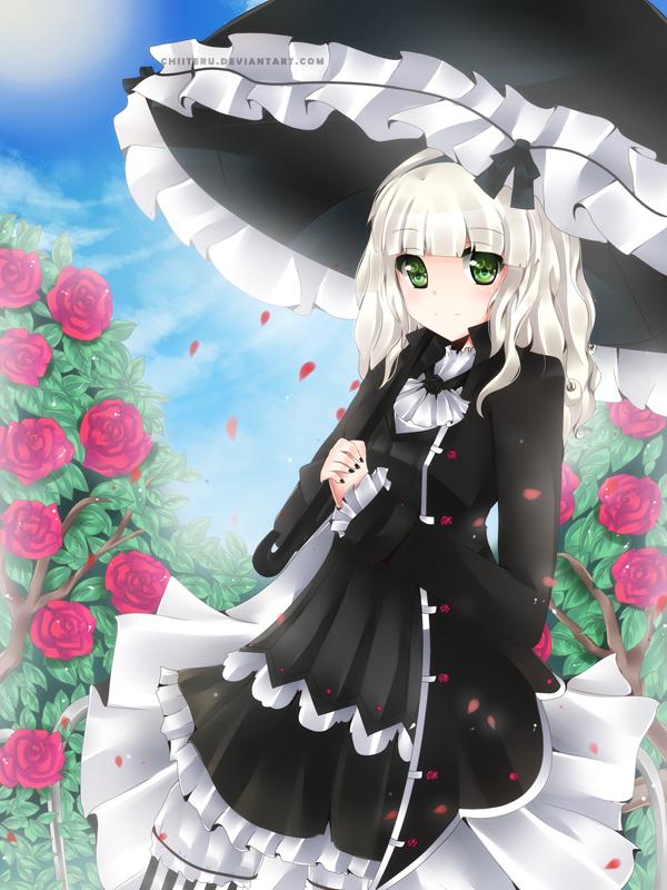 La chica negra y blanca en el jardin de rosas by KuroUsagi36 ...