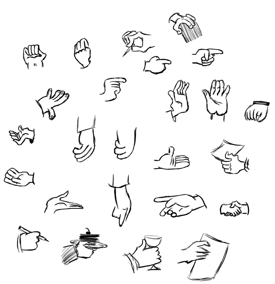 D Line Drawing Of Hand : Hamm s cartoon hand studies by literalbanana on deviantart