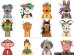 Twelve animals with decorative headpiece by meechirumaeda