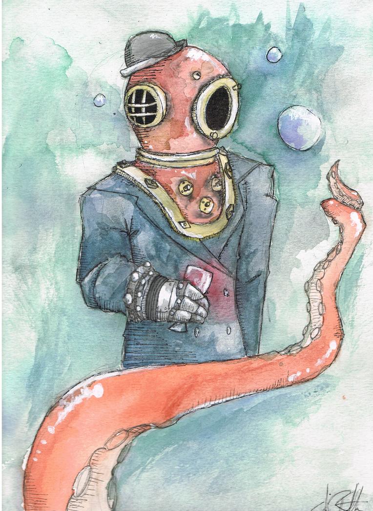 Underwater Man by tigerlilymewmew