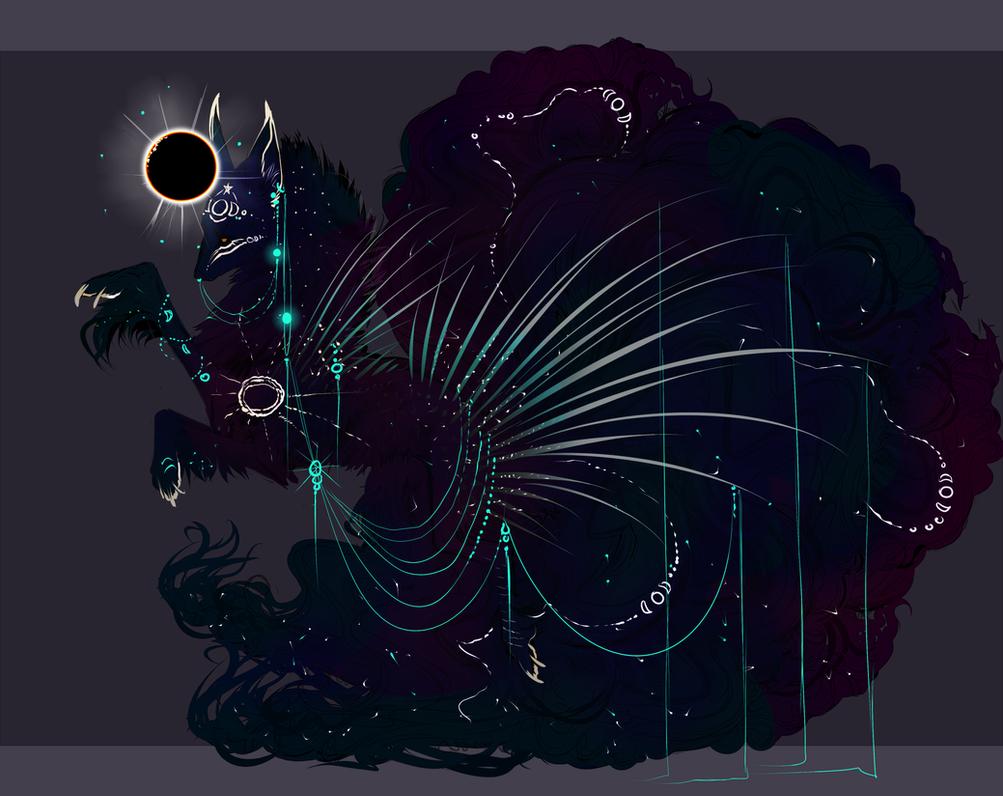 Eclipse QuillDog-Jackaluna Hybrid: Shadows of Lore by MischievousRaven
