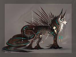 Azure Tribal Thunder QuillDog by MischievousRaven