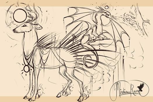 Dragon's Sunrise QuillDeer  WIP