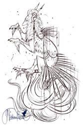 QuillDog Deity WIP: Shimmering to Darkness by MischievousRaven