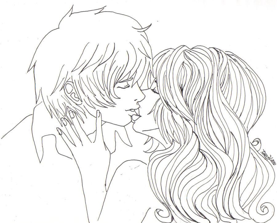 Line Art Kiss : Kiss line art by eto nani on deviantart