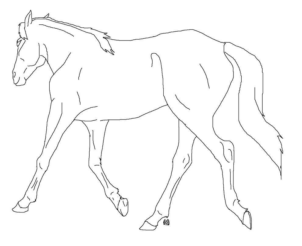 Simple Horse Lineart : The gallery for gt easy horse drawings running