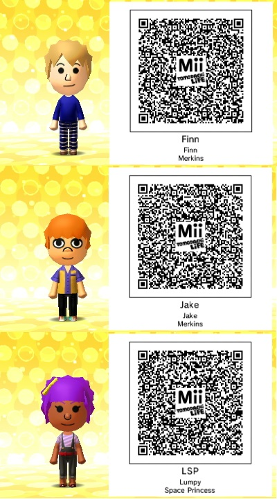 Tomodachi life adventure time qr codes by thesingettesrback on