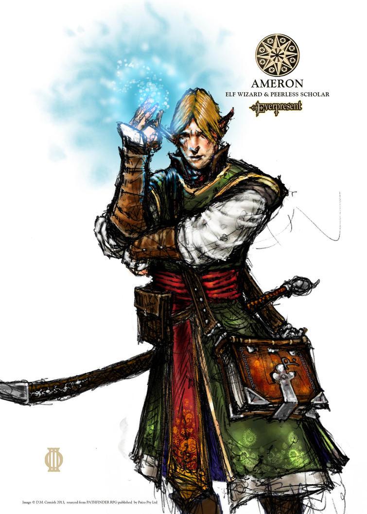pathfinder ameron elven wizard by fouracres on deviantart