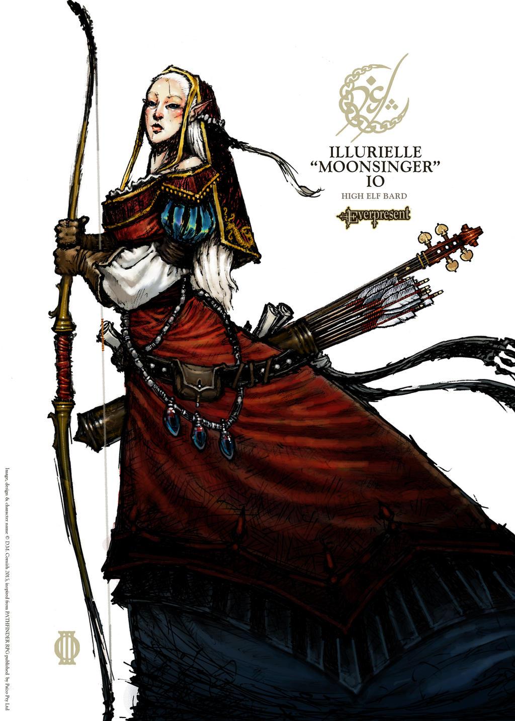 Pathfinder - Illurielle Moonsinger, elven bard by Fouracres