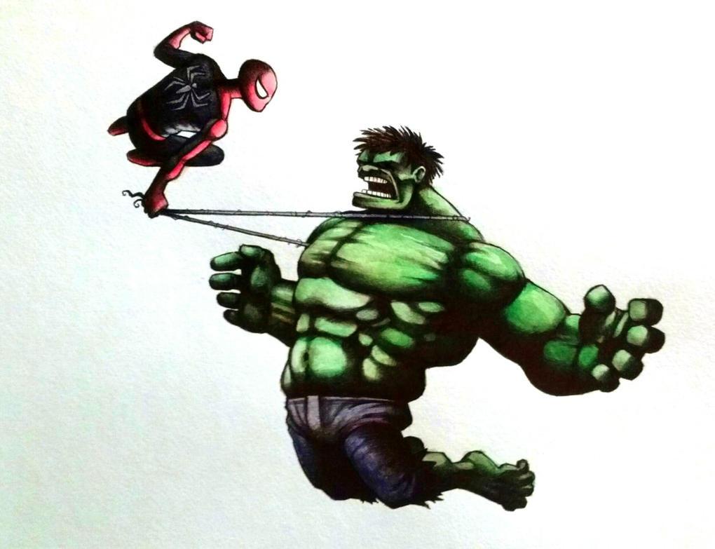 spiderman vs hulk watercolor by legumebean