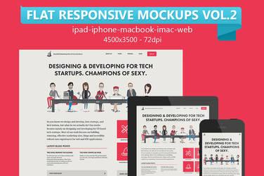 Flat Responsive Web Mockups Vol.2