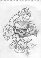Snake_skull_roses by xikosampaio