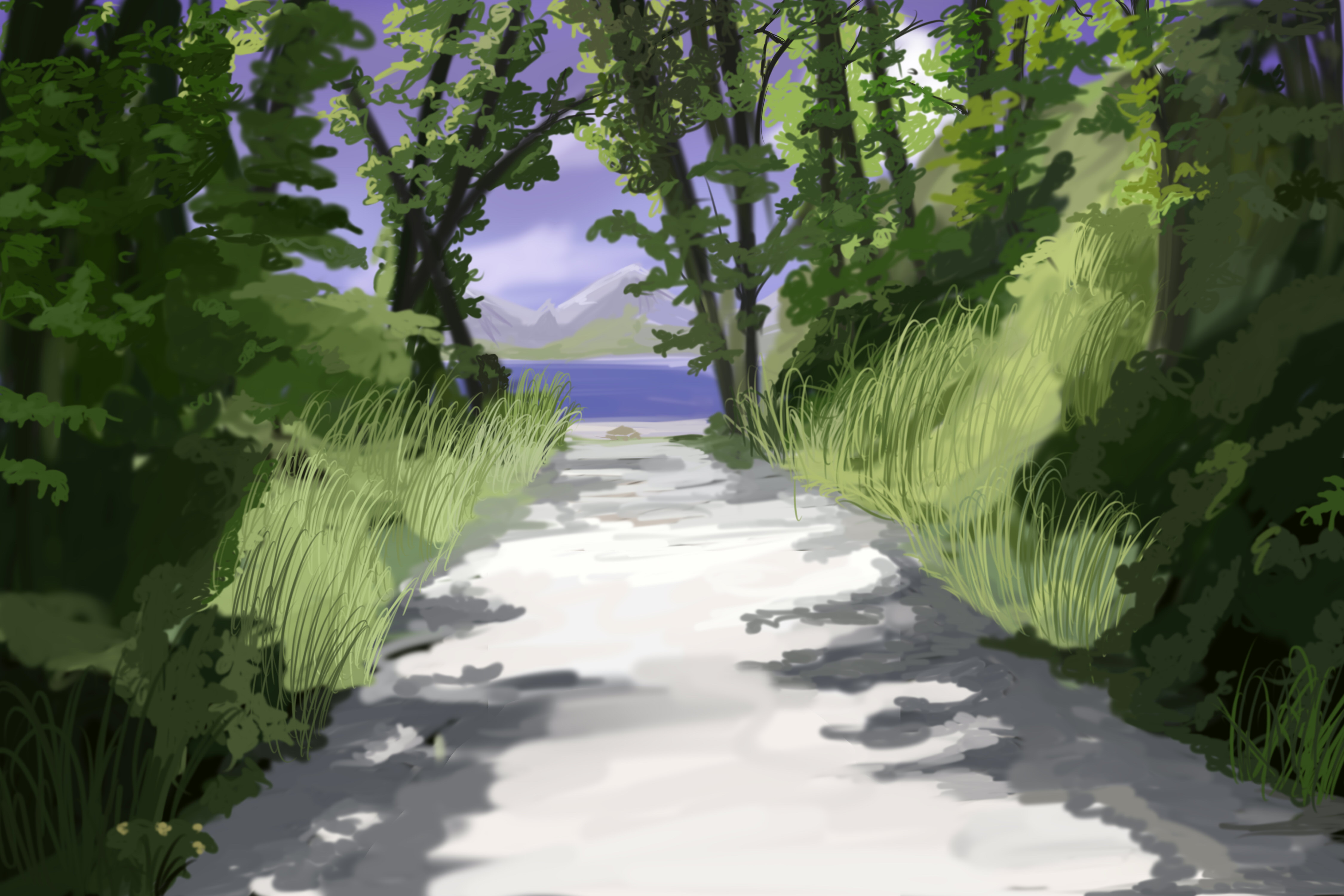 Forest Path Anime Background