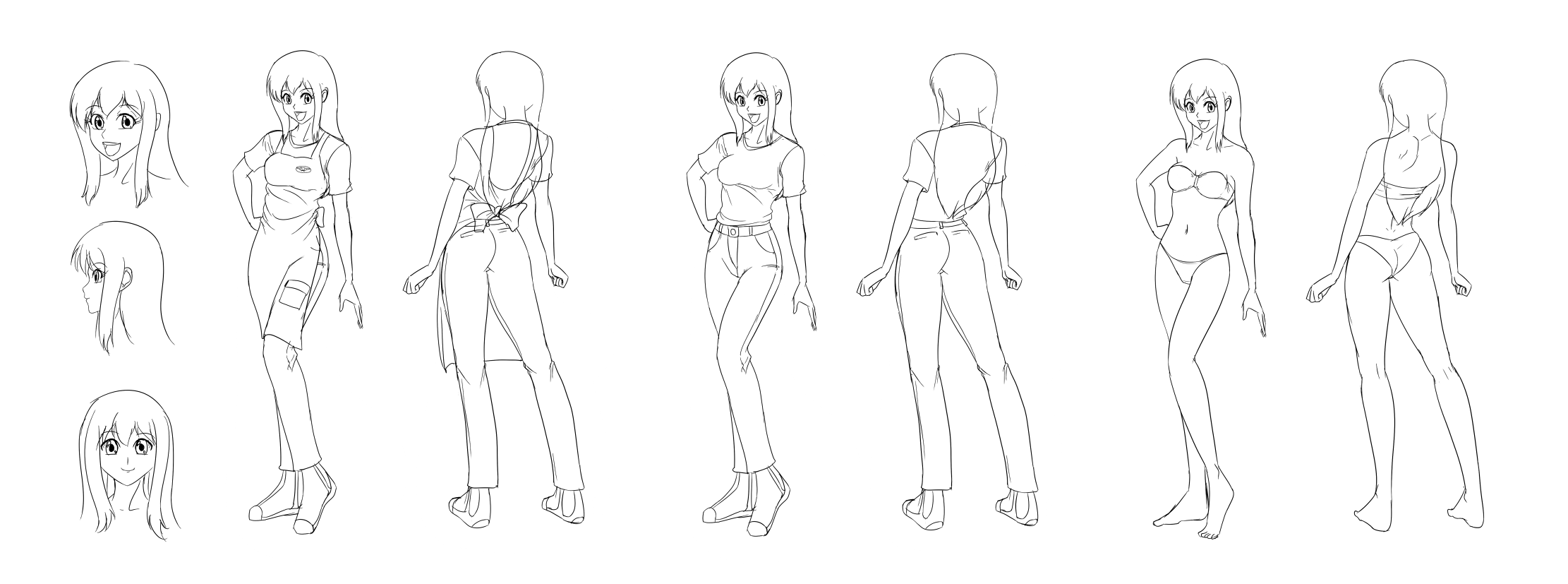 The gallery for female character model sheet for Manga character template