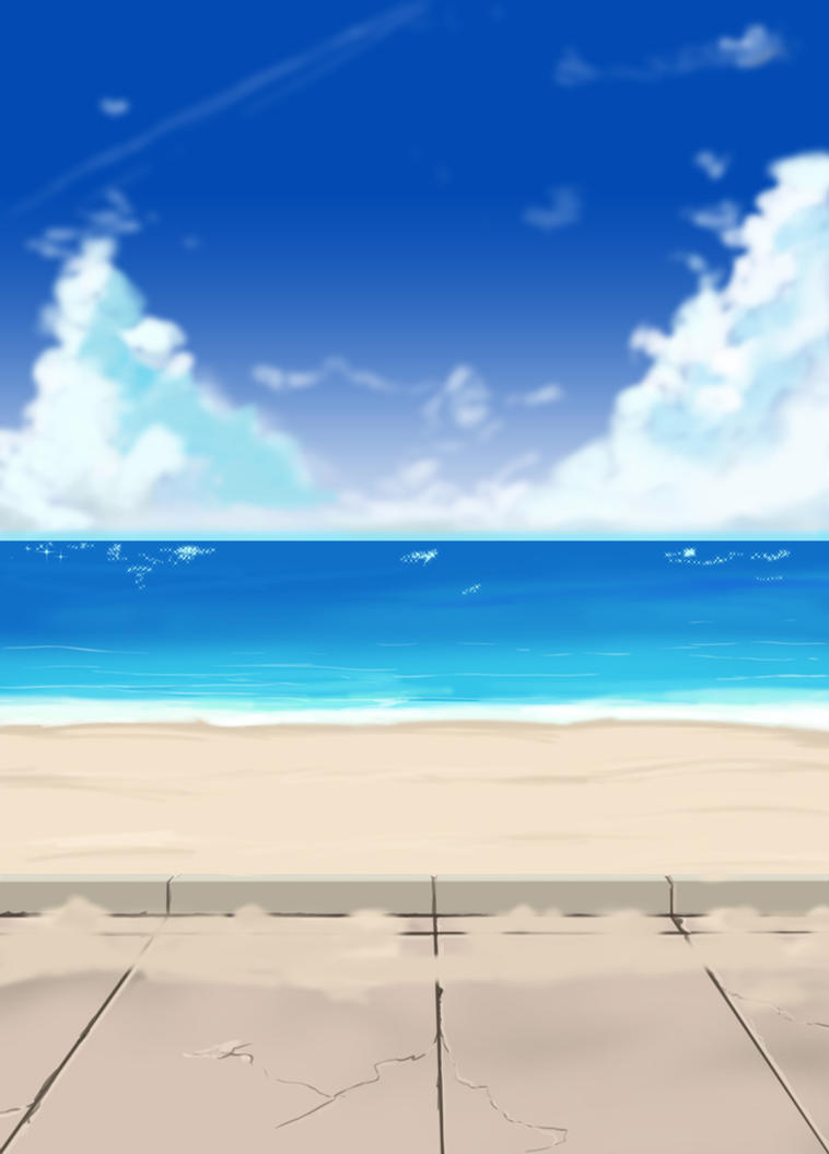 Anime Style Beach Background And Path By Wbd