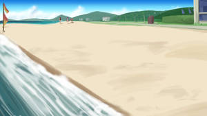 Anime-Style Beach Background Yet Again by wbd