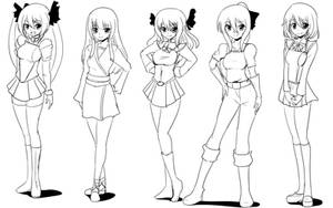 Practice Fighters Character Designs by wbd