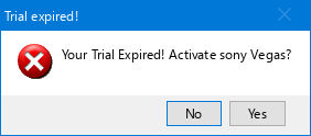 Error - Sony Vegas Trial Has Expired