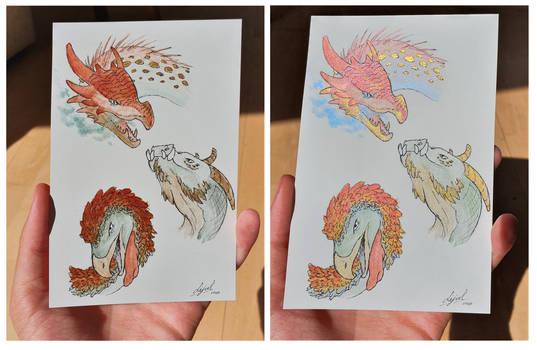 Watercolor dragons 1