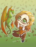 Chibi Nerd And Dragon by Aphilien