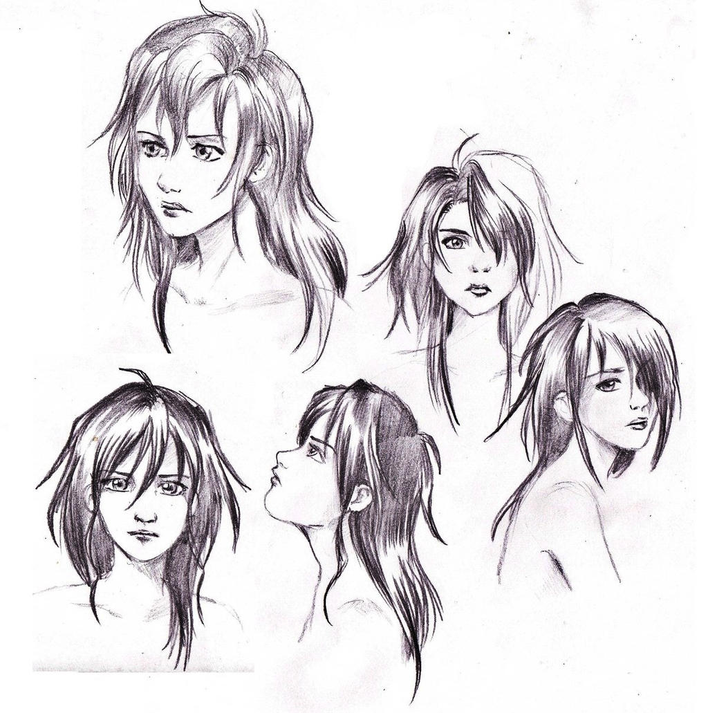 Sketches Manga Hair By IsiaChan