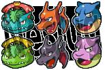 Final Kanto Starter Icons by Neslug