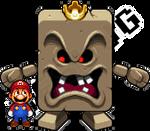 Whomp King and Mario by Neslug