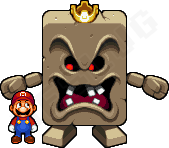 Whomp King and Mario by Neslug