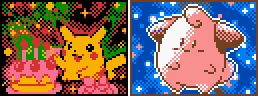 Pokemon TCG-Style Birthday Pikachu + Cleffa by Neslug