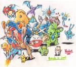 Pokemon Group Portrait in Colour