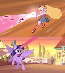 Star and Twilight firing magic blasts by Darkvader2016
