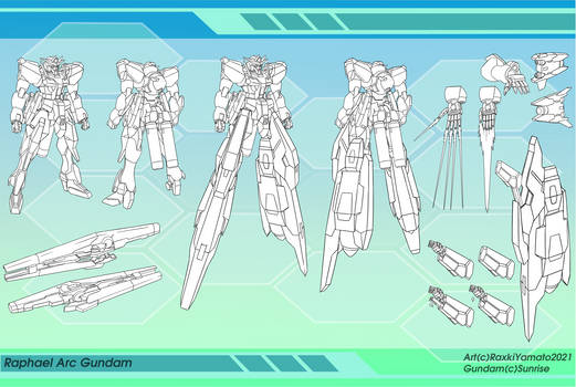 Raphael Arc Gundam Reference Sheet Line Art