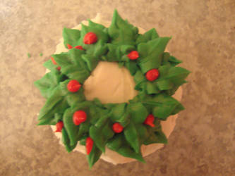 Close up Christmas Wreath Cupcake by classicalmom5