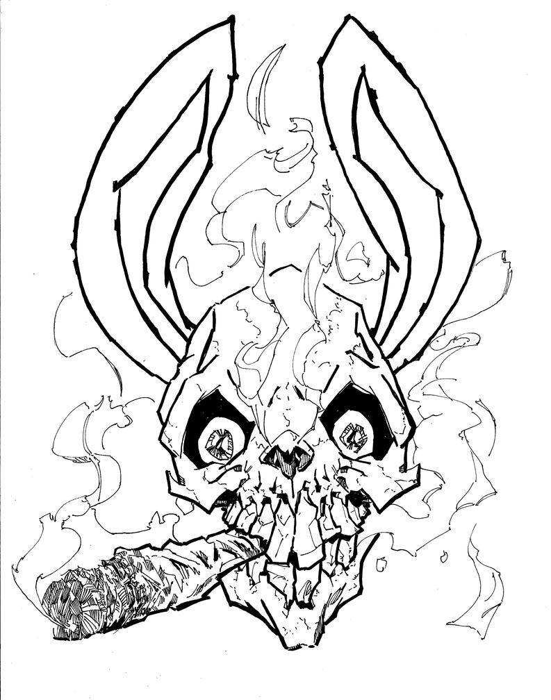 Smoking bunny skull ckirkillustr on deviantart jpg 793x1008 bunny skull drawings