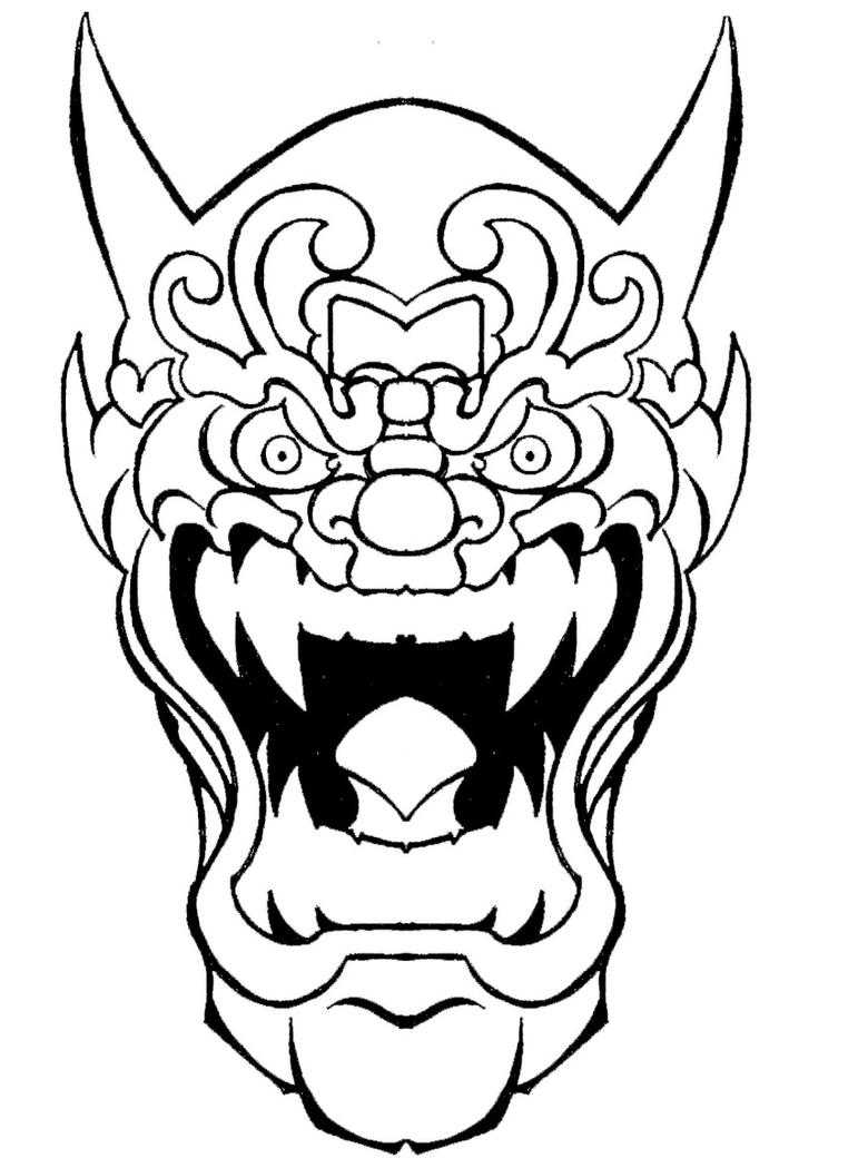 Oni mask by ckirkillustr8 on deviantart for Kabuki mask template