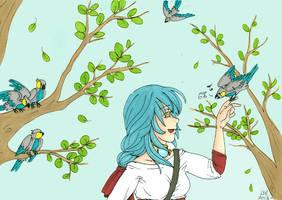 Azura et les oiseaux