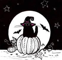 Inktober : halloween cat by zarielcharoitite