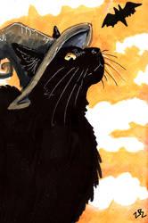 Inktober Day 22 :black cat  witch by zarielcharoitite