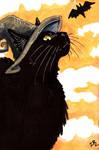 Inktober Day 22 :black cat  witch
