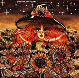 Inktober 2019 - Sunflower witch by zarielcharoitite