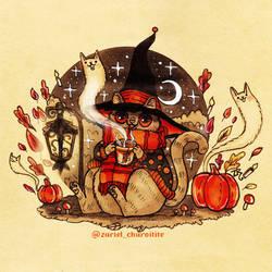 Inktober 2020 -  witch cat by zarielcharoitite