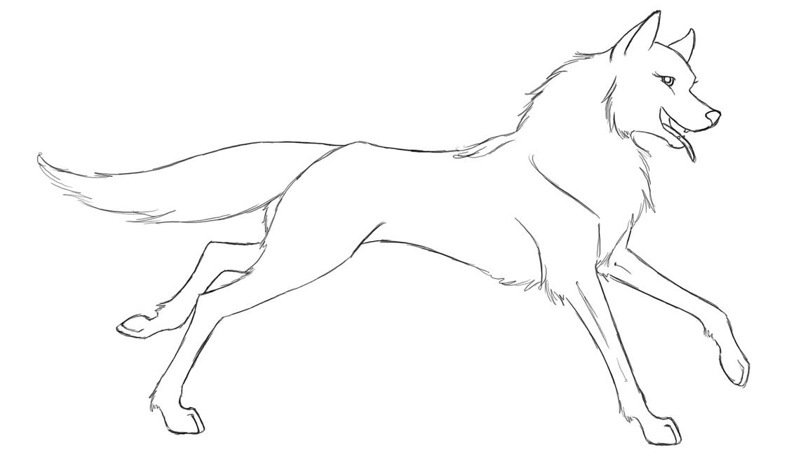 Wolf Lineart : Wolf lineart by thesuta on deviantart