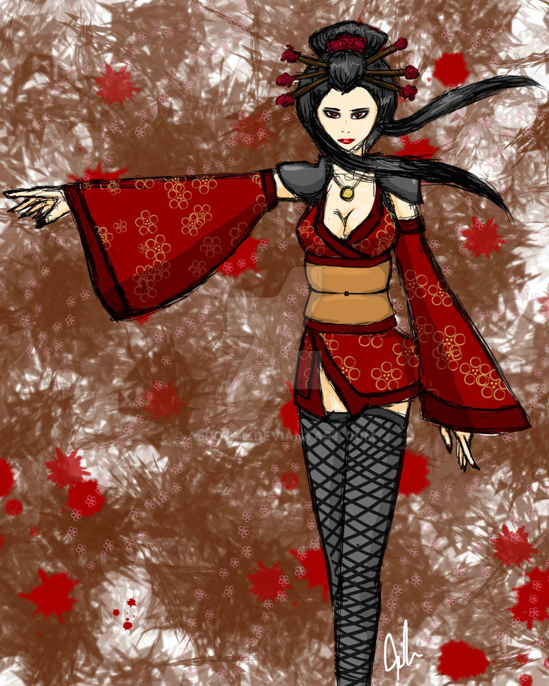 Blood Red Kimono by Aerotyl