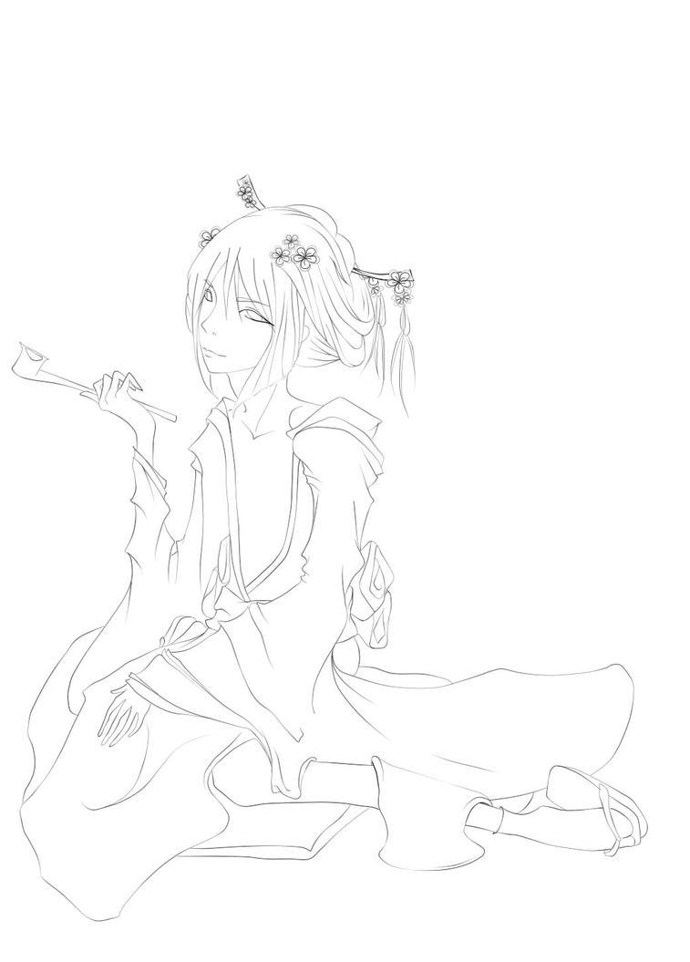 Male geisha lineart by littlekid-lk
