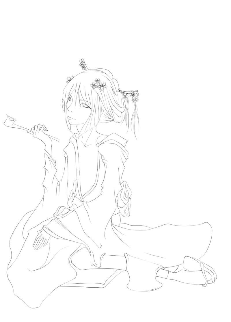 Male geisha lineart by littlekid-lk