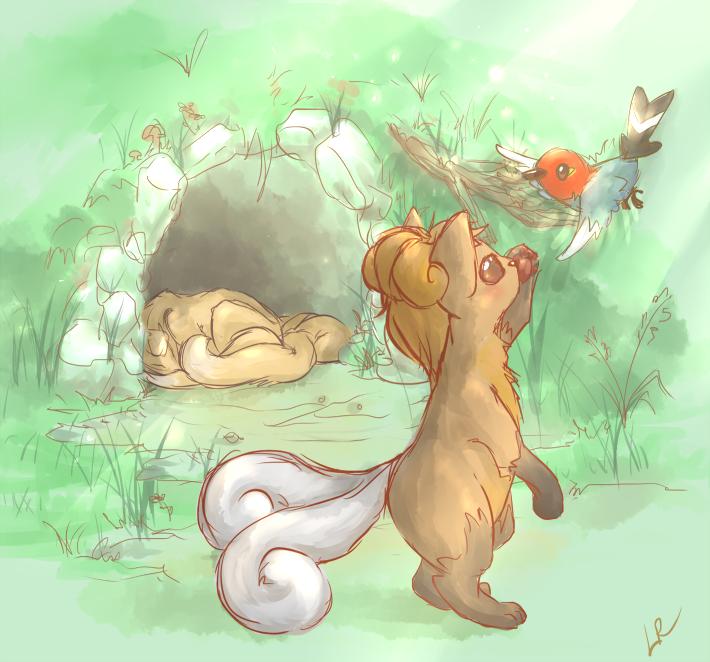 Playful baby vulpix by Tachi--Baka