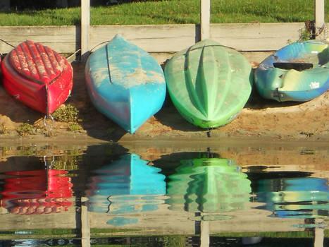 Red, Green, Blue Kayaks