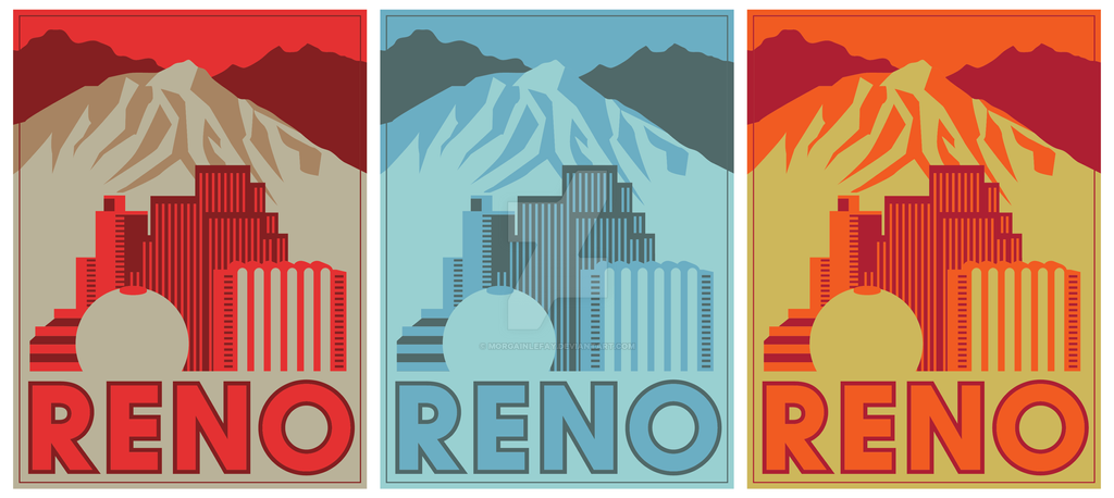 City of Reno Flat Poster - Three Colors by morgainlefay