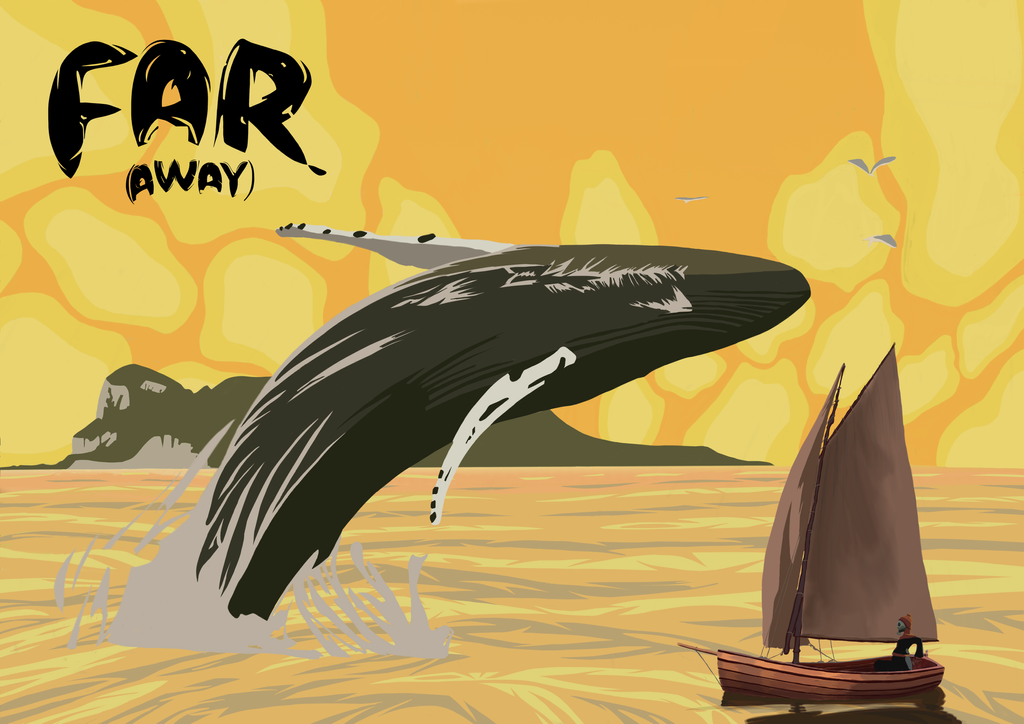 Far (Away): Sailing Boat And Whale by Alverspin